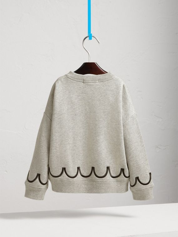 Scallop Detail Cotton Jersey Sweatshirt in Grey Melange - Girl | Burberry - cell image 3
