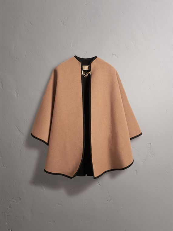 Wool Cashmere Military Cape in Camel/black - Women | Burberry - cell image 3