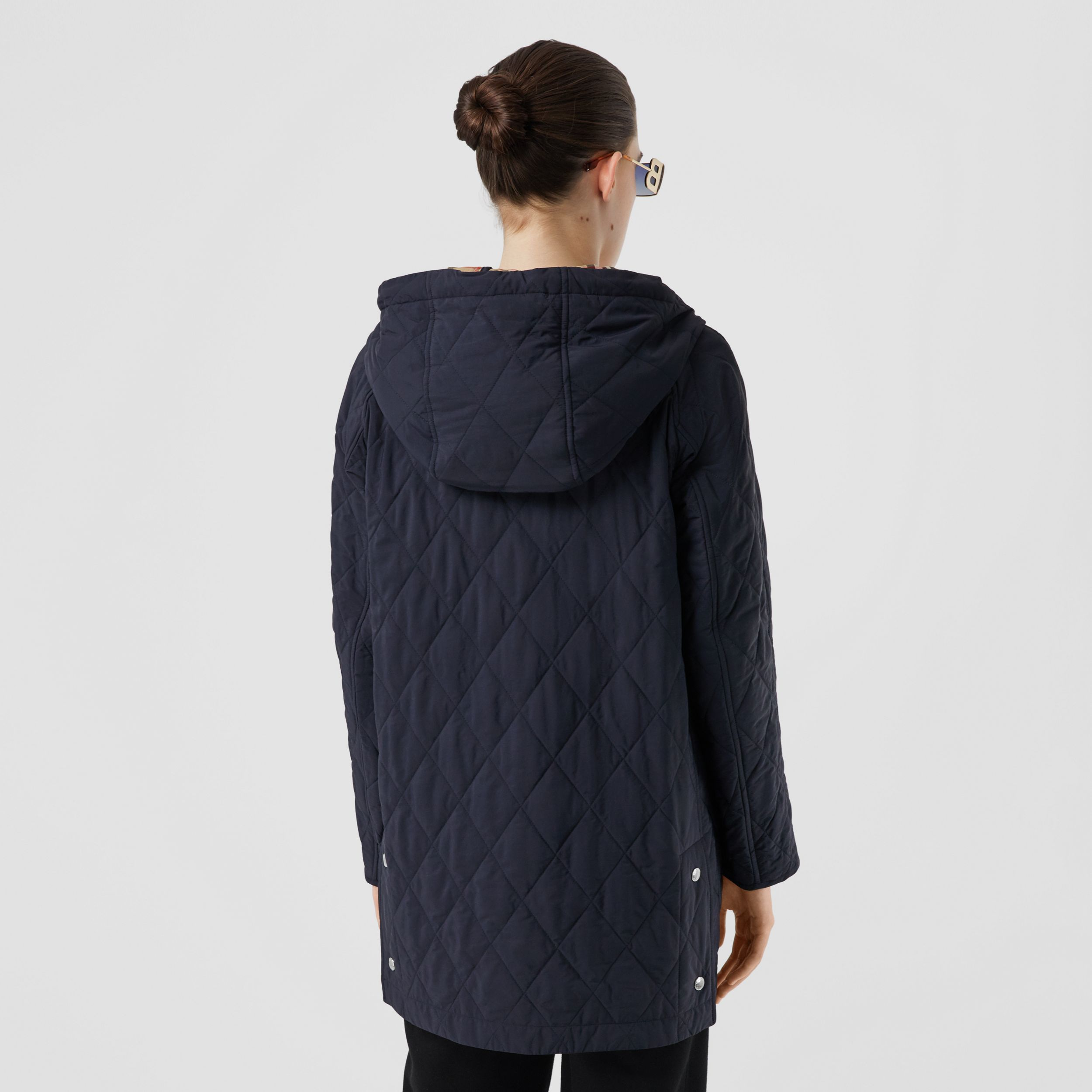 Diamond Quilted Thermoregulated Hooded Coat in Navy - Women | Burberry - 3