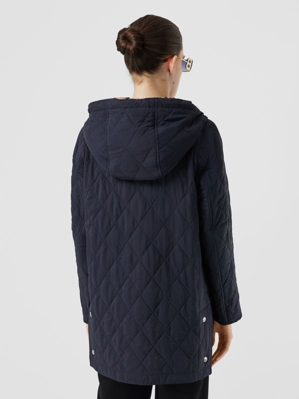 Diamond Quilted Thermoregulated Hooded Coat in Navy - Women | Burberry - cell image 2