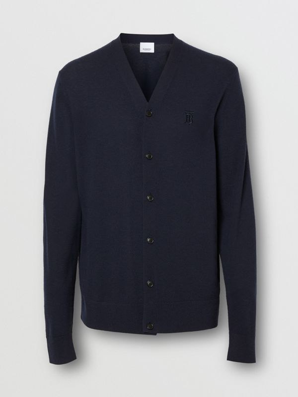 Monogram Motif Cashmere Cardigan in Navy - Men | Burberry - cell image 3