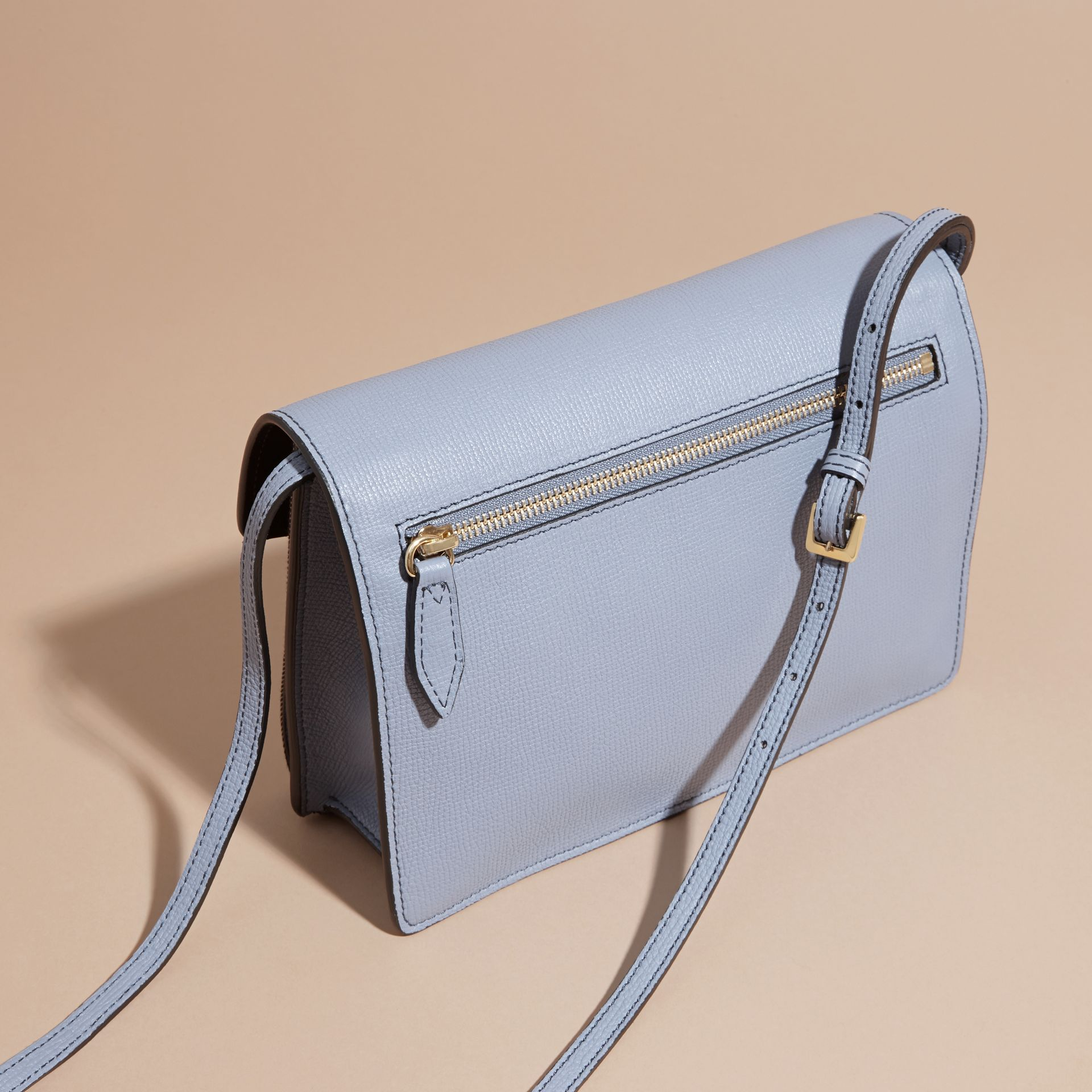 Small Leather and House Check Crossbody Bag in Slate Blue - gallery image 5