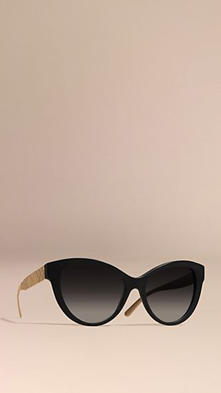 3D Check Cat-eye Polarised Sunglasses