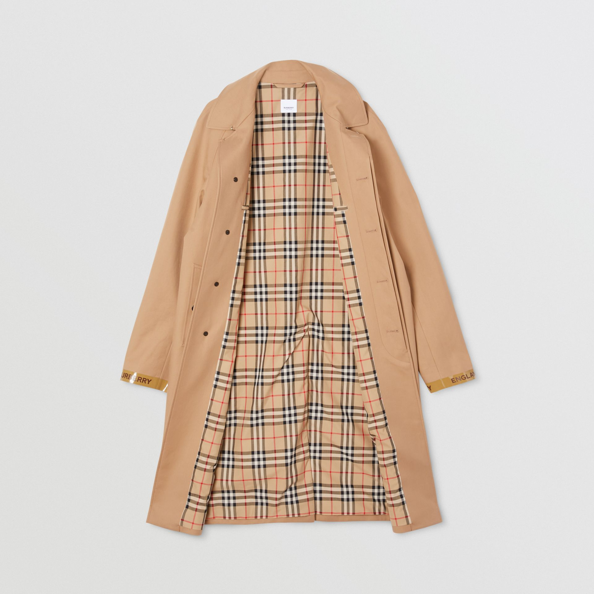 Logo Tape Cotton Car Coat in Warm Walnut - Men | Burberry - gallery image 8