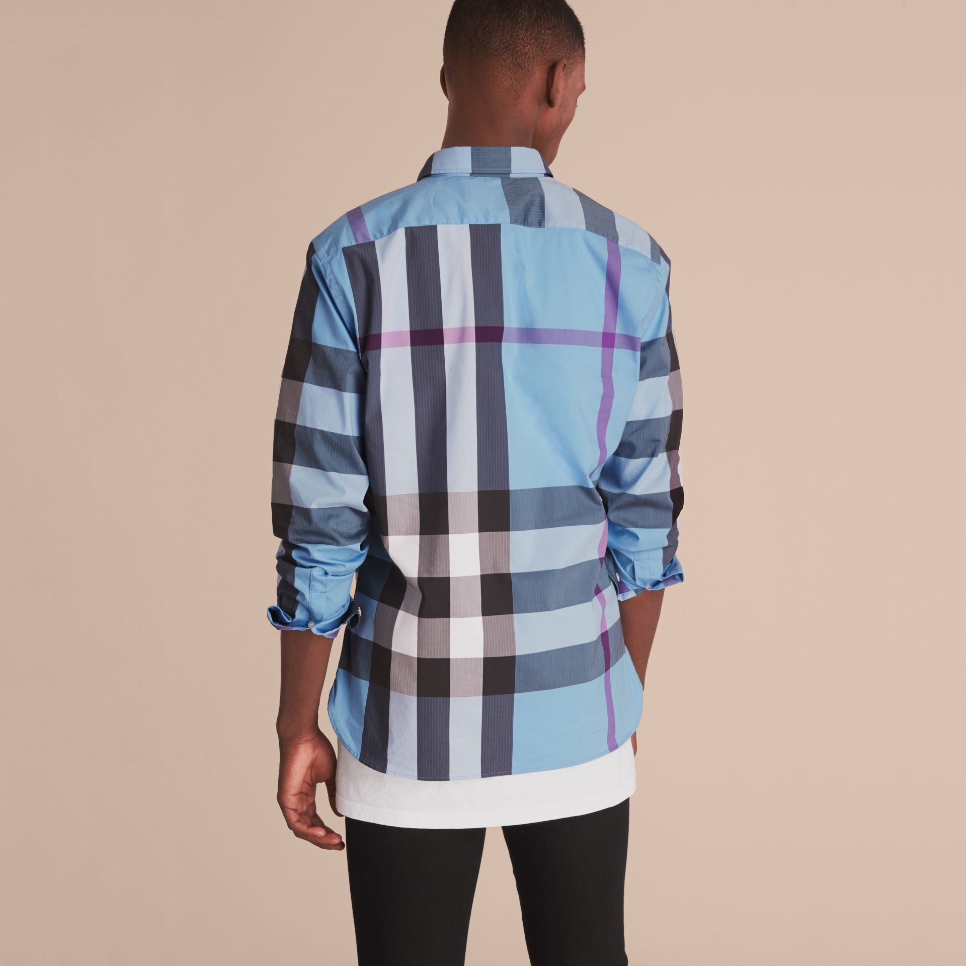 Button-down Collar Check Stretch Cotton Blend Shirt in Cyan Blue - Men | Burberry - gallery image 3