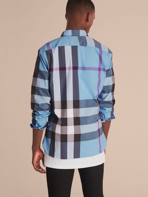 Button-down Collar Check Stretch Cotton Blend Shirt in Cyan Blue - Men | Burberry - cell image 2