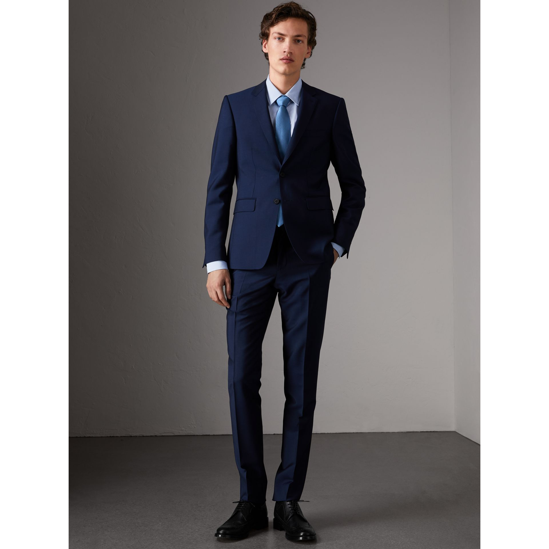 Slim Fit Wool Mohair Part-canvas Suit in Royal Navy - Men | Burberry - gallery image 0