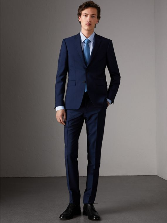 Slim Fit Wool Mohair Suit in Royal Navy