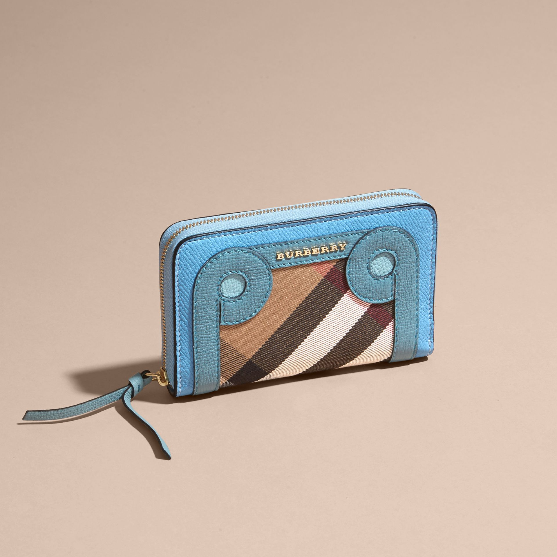 Bright mineral blue Grainy Leather Appliqué House Check Ziparound Wallet - gallery image 4