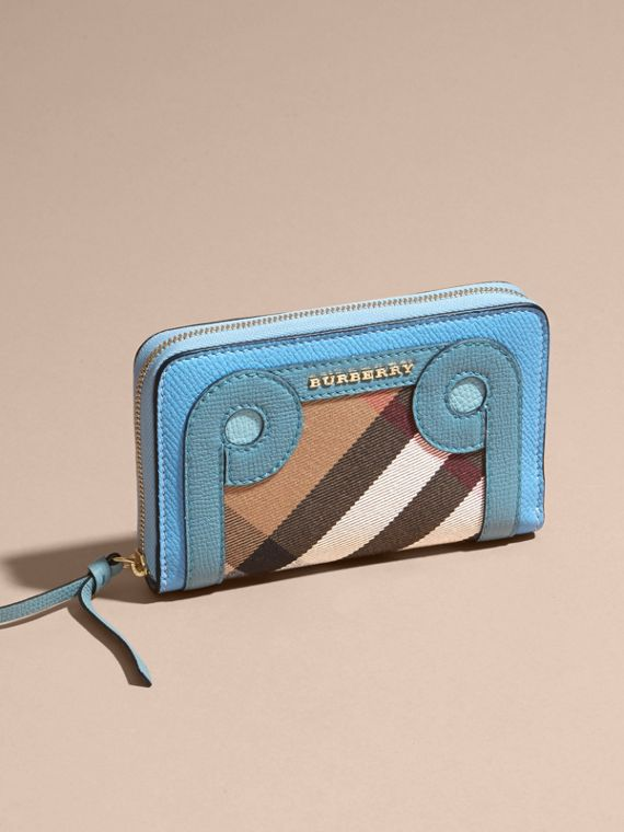 Bright mineral blue Grainy Leather Appliqué House Check Ziparound Wallet - cell image 2