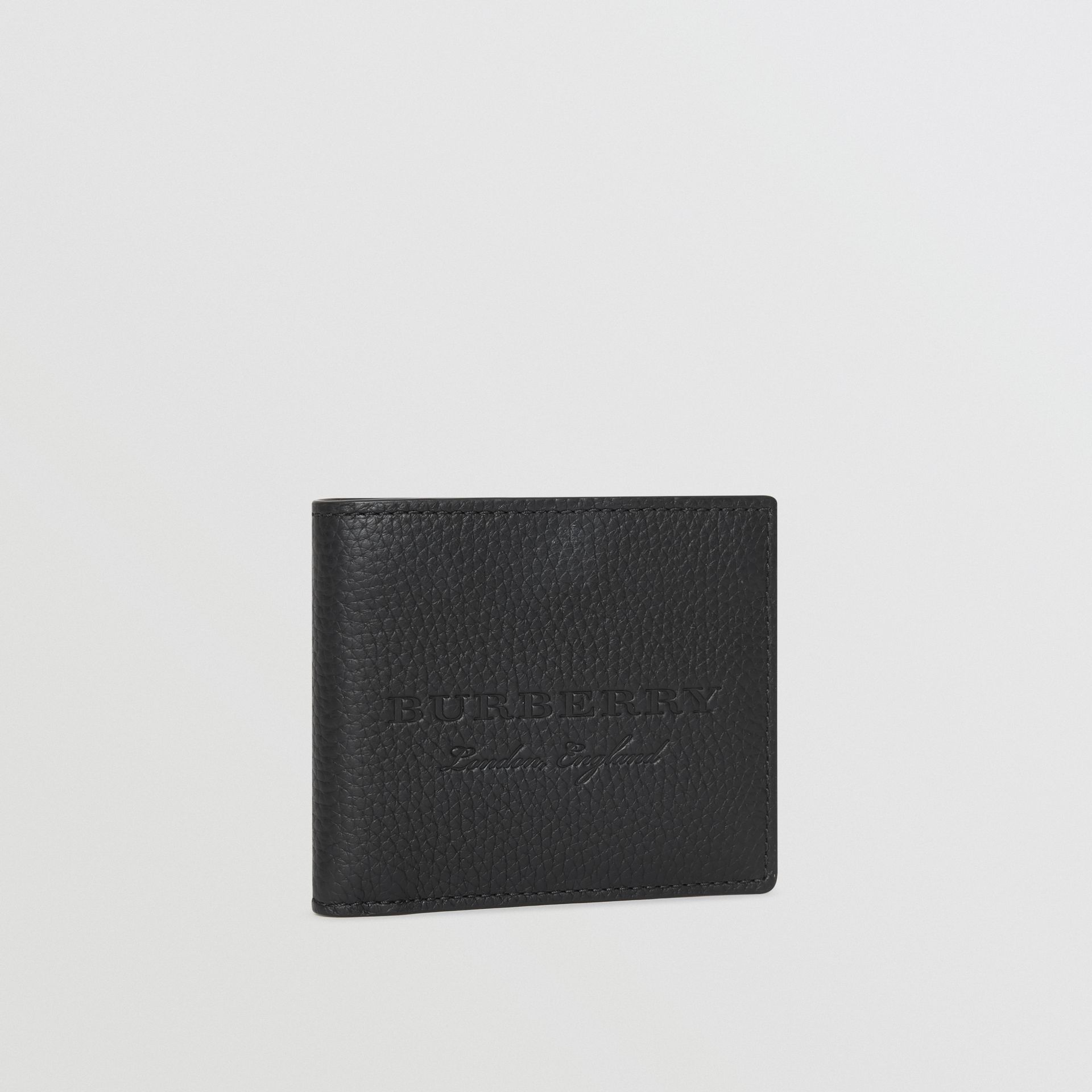 Embossed Leather Bifold Wallet in Black - Men | Burberry - gallery image 4