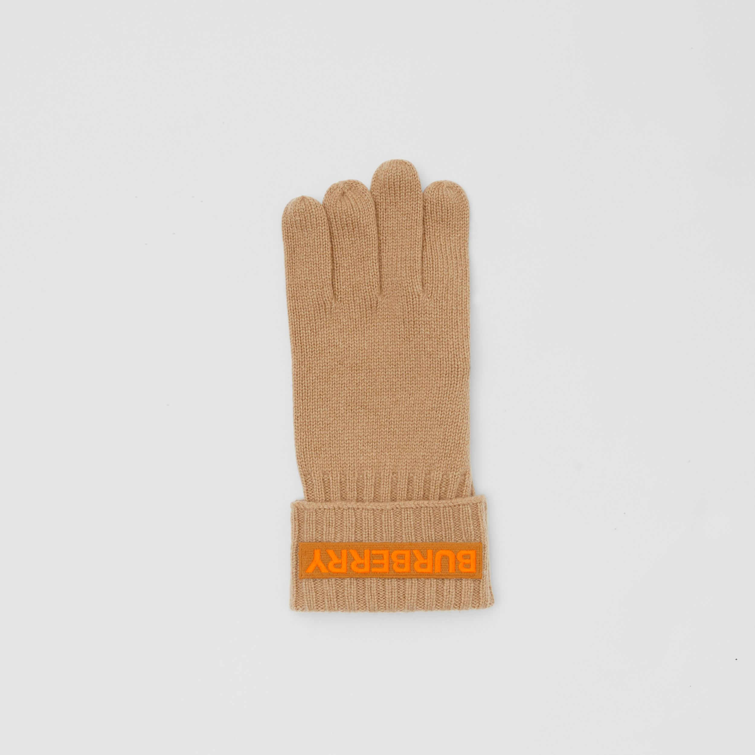 Kingdom and Logo Appliqué Cashmere Gloves in Archive Beige | Burberry - 3