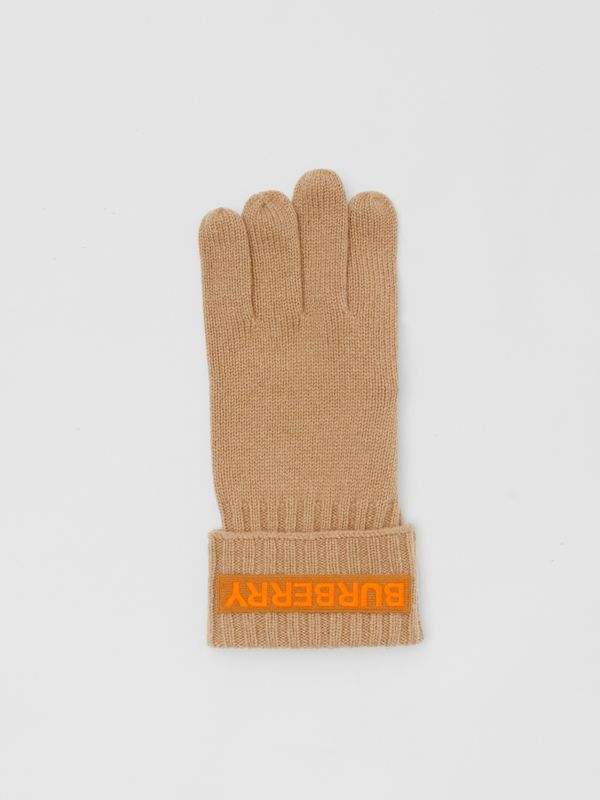 Kingdom and Logo Appliqué Cashmere Gloves in Archive Beige | Burberry - cell image 2