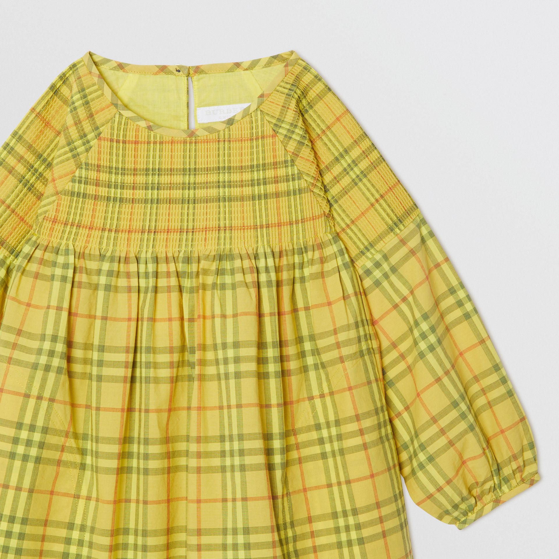 Smocked Check Cotton Dress in Citrus Yellow | Burberry - gallery image 4