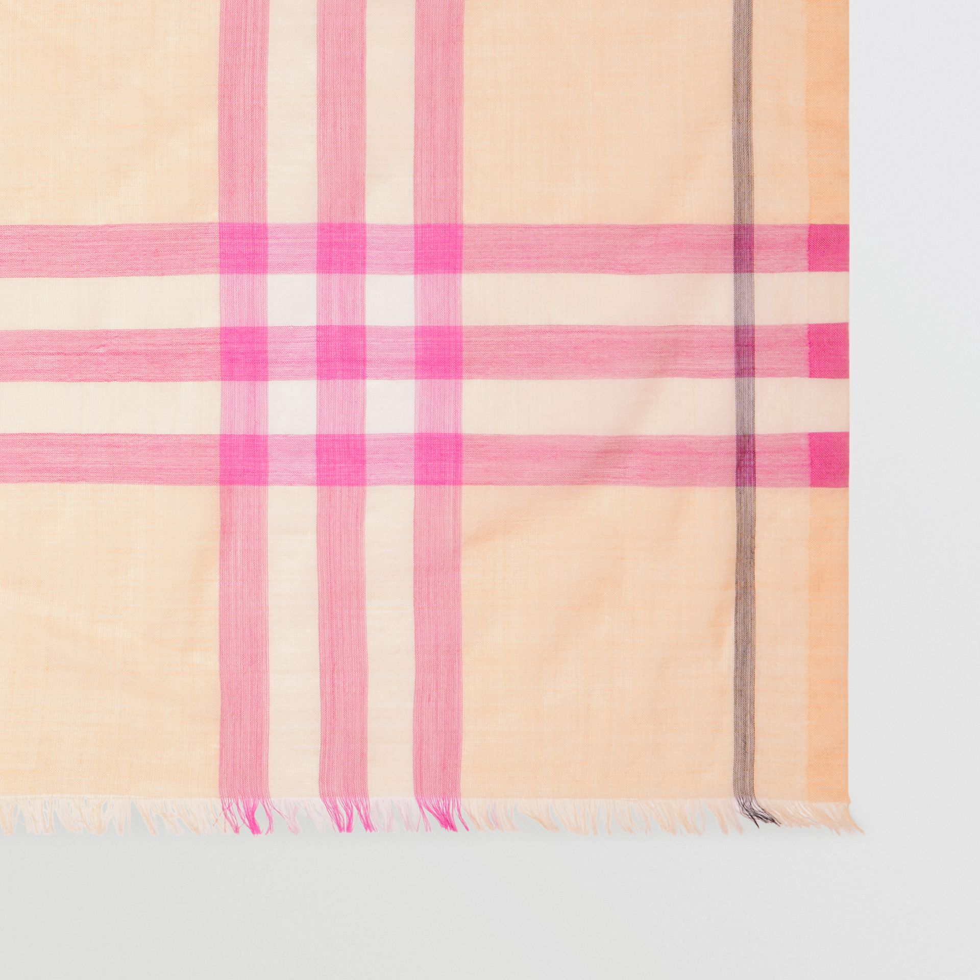 Lightweight Check Wool and Silk Scarf in Pale Apricot | Burberry - gallery image 1