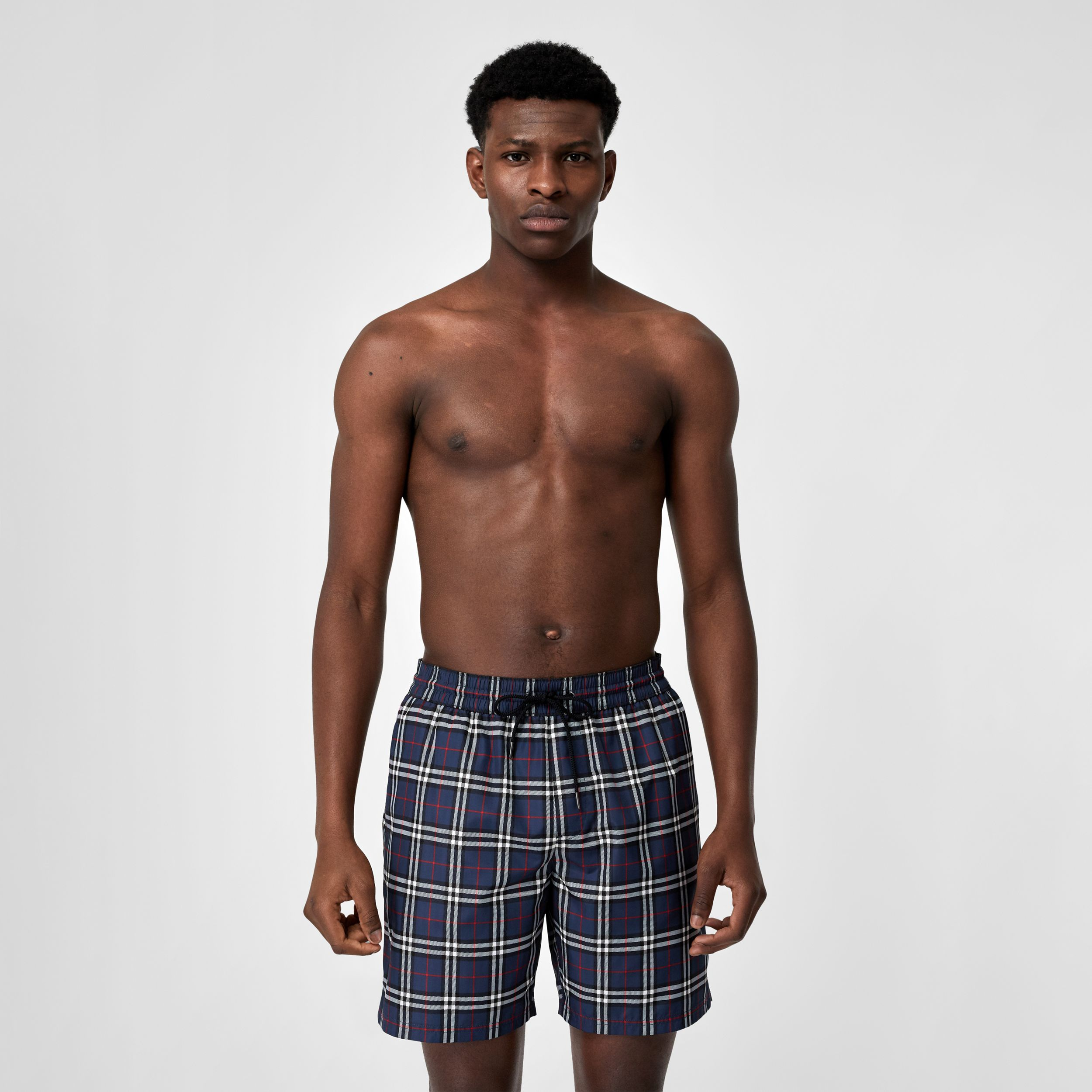 Check Drawcord Swim Shorts in Carbon Blue - Men | Burberry - 1