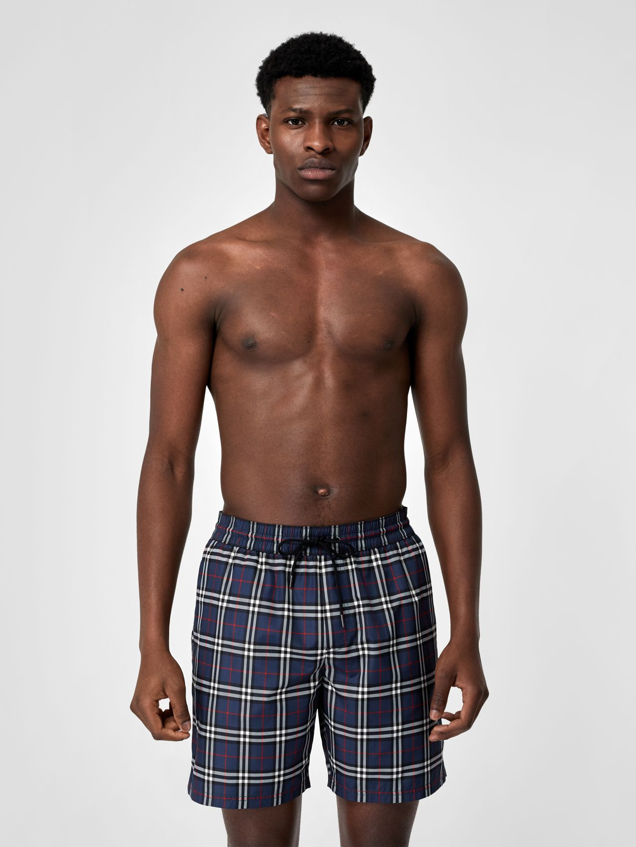 Check Drawcord Swim Shorts in Carbon Blue