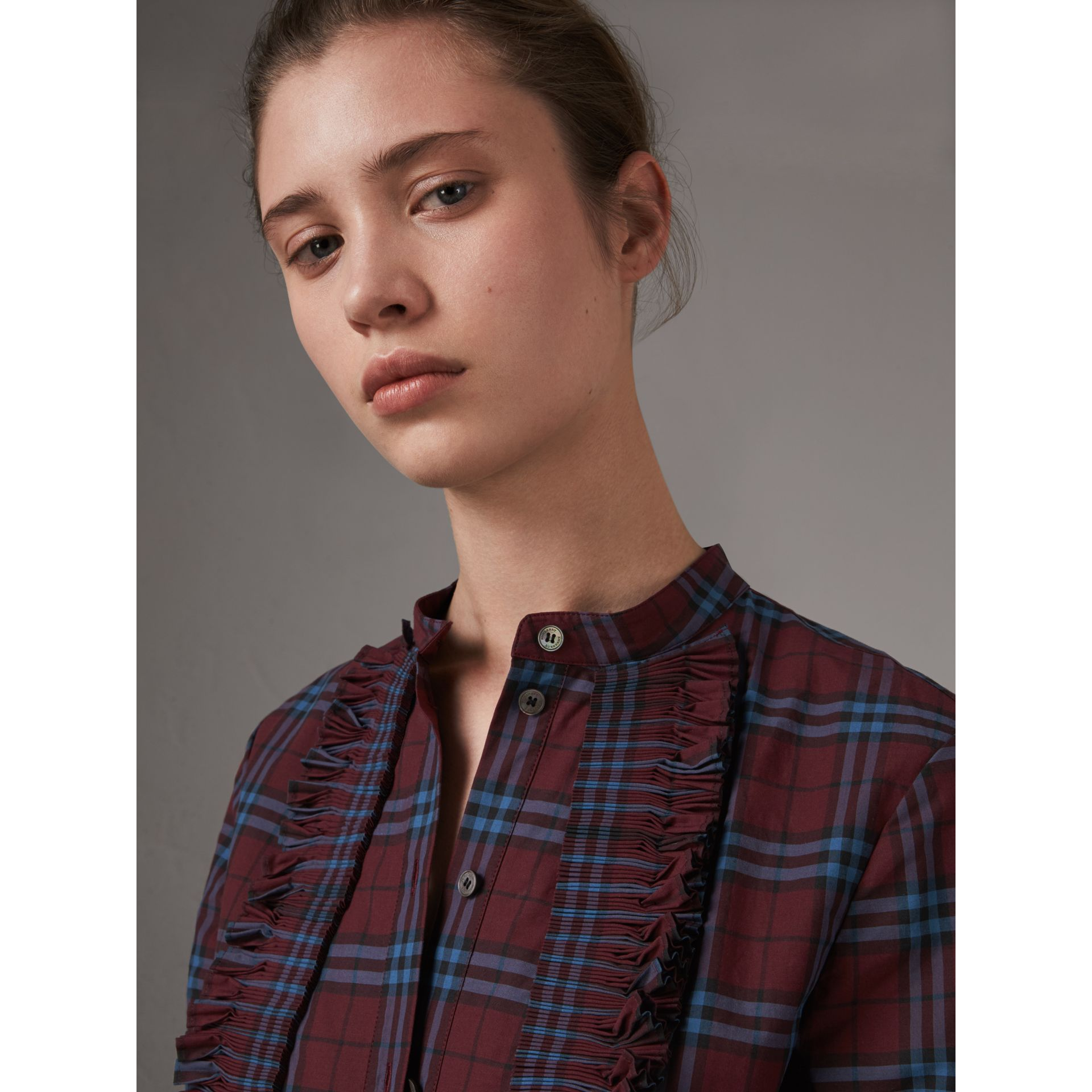 Ruffle Detail Check Cotton Tunic Shirt in Crimson Red - Women | Burberry - gallery image 1