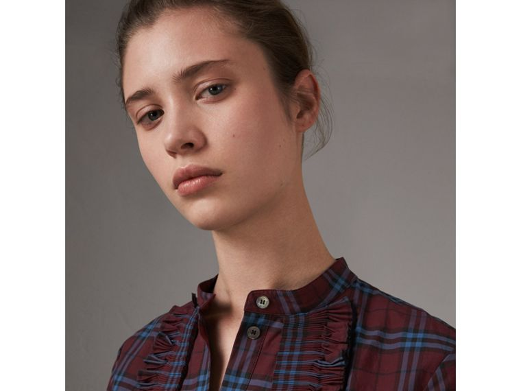Ruffle Detail Check Cotton Tunic Shirt in Crimson Red - Women | Burberry United Kingdom - cell image 1