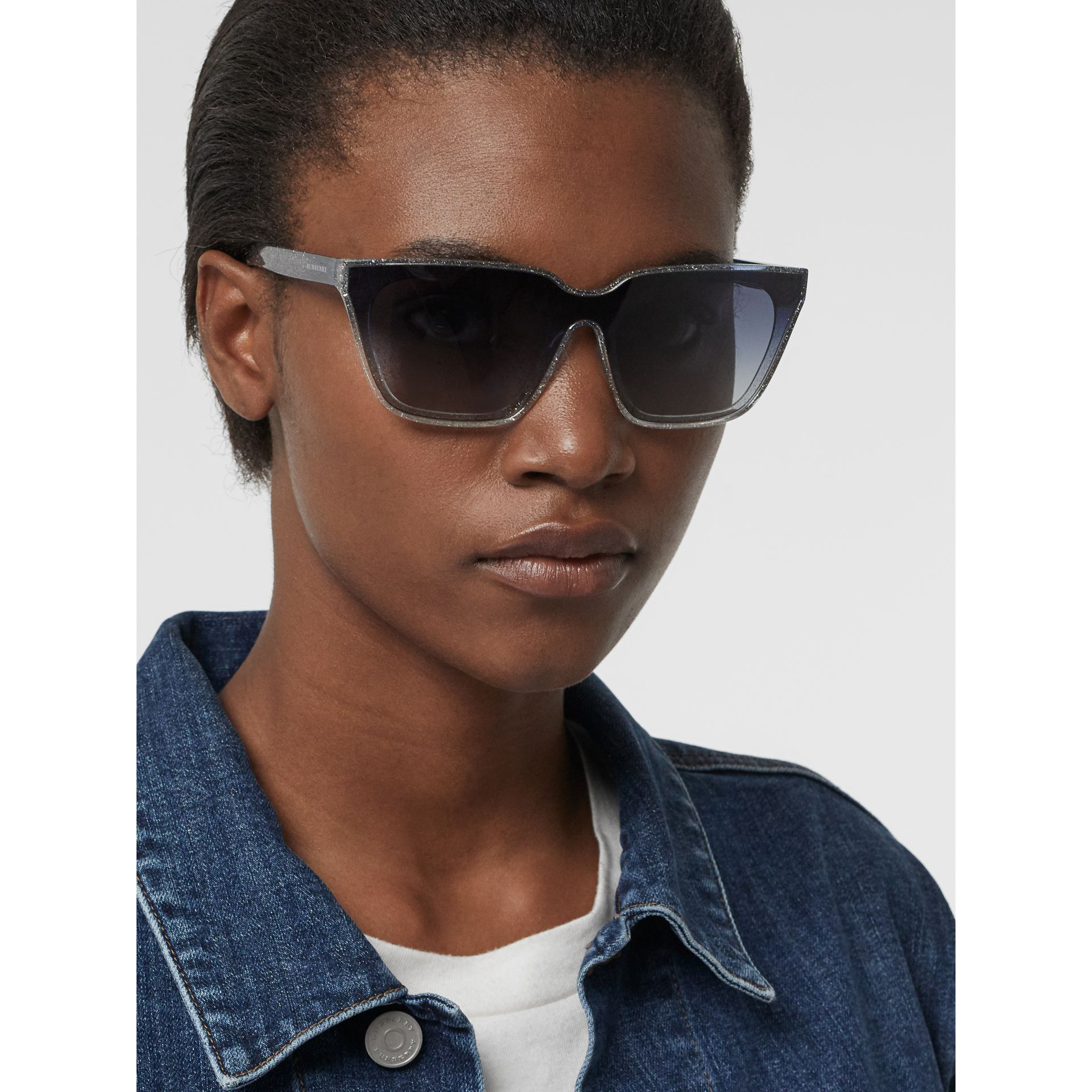 Glitter Detail Square Frame Shield Sunglasses in Blue - Women | Burberry - gallery image 2