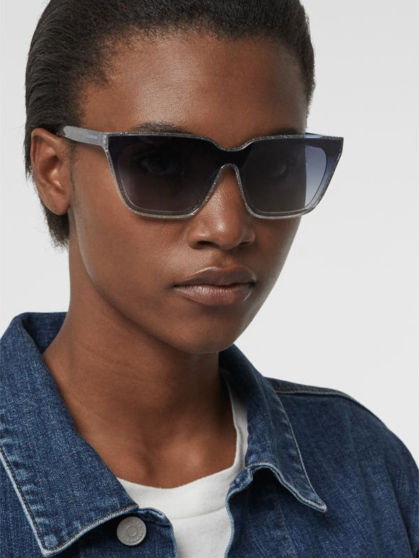 Glitter Detail Square Frame Shield Sunglasses in Blue - Women | Burberry - cell image 2
