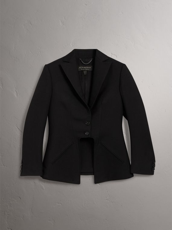 Lightweight Wool-silk Tailored Riding Jacket in Black - Women | Burberry United Kingdom - cell image 3