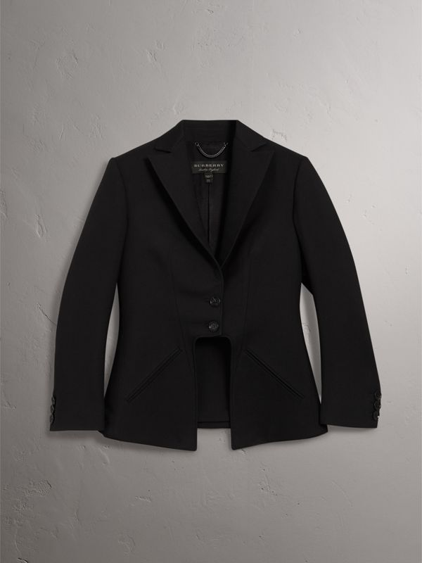 Lightweight Wool-silk Tailored Riding Jacket in Black - Women | Burberry - cell image 3