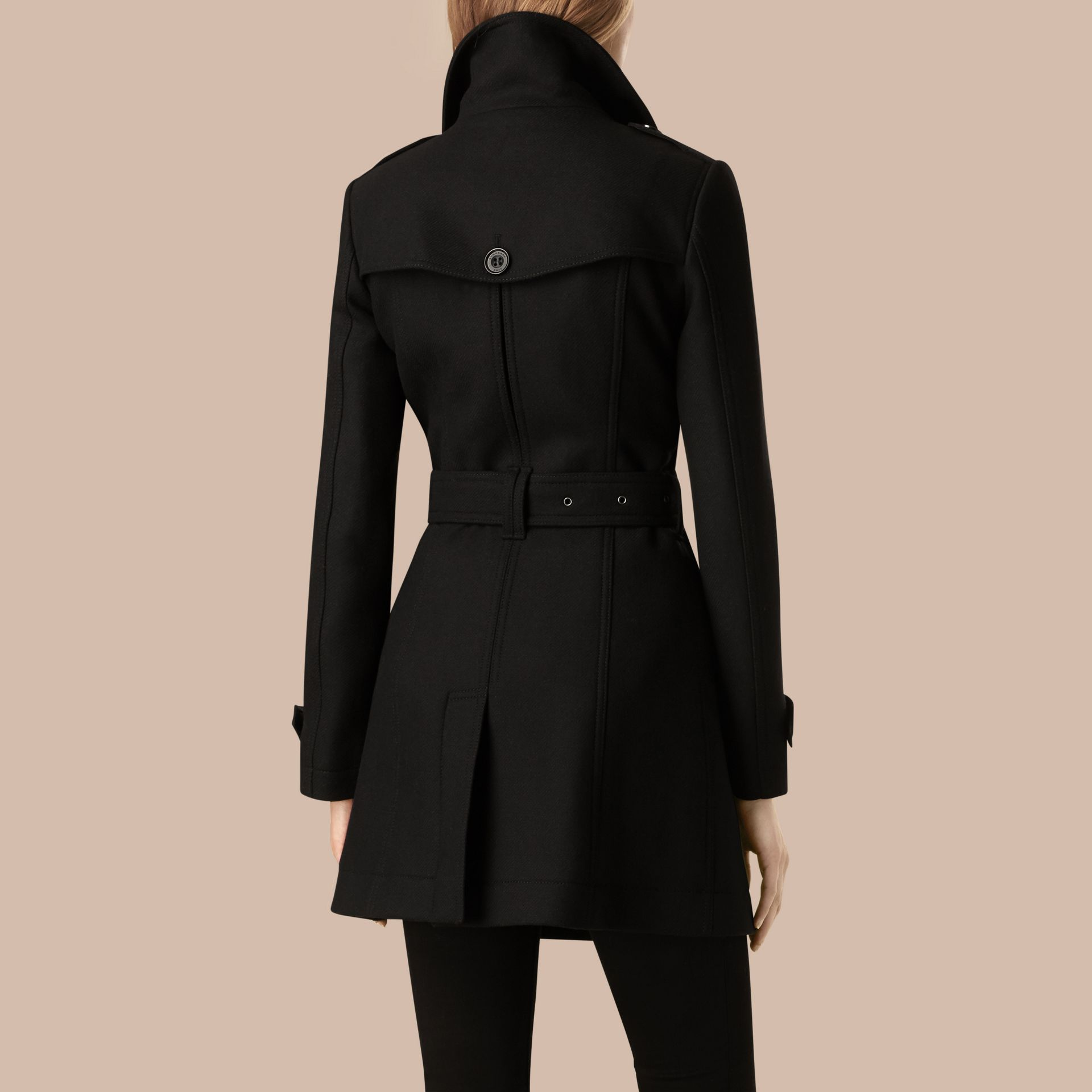 Black Short Double Wool Twill Trench Coat Black - gallery image 4