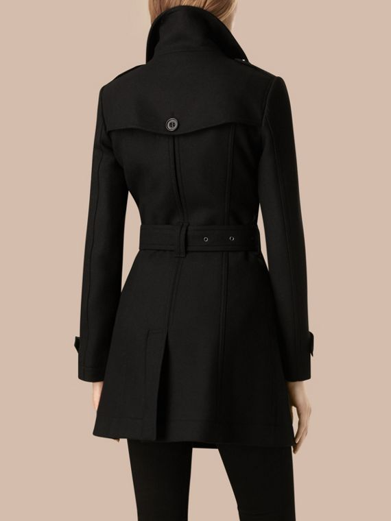 Nero Trench coat corto in twill di lana doppio Nero - cell image 3