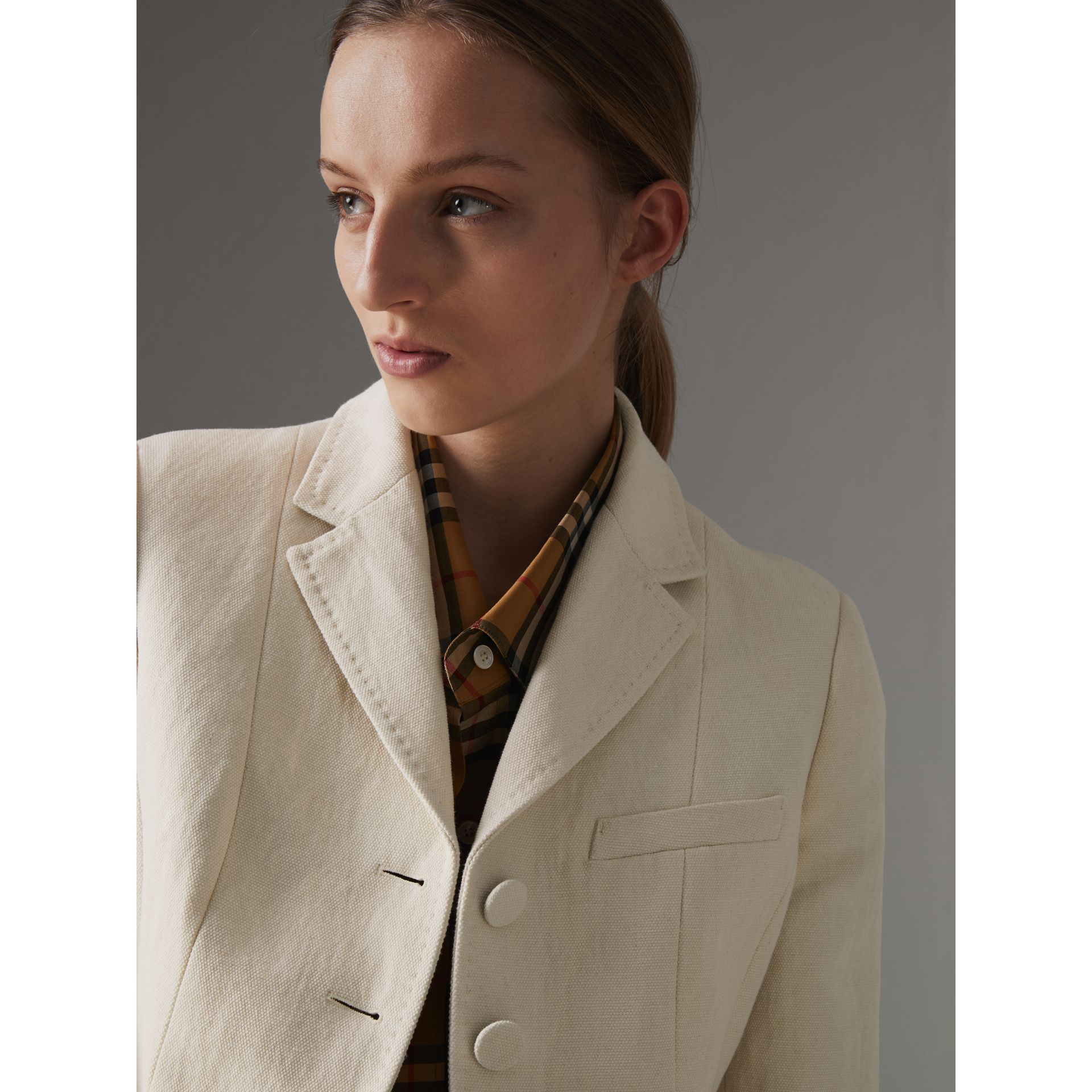 Cotton Linen Fitted Jacket in Off White - Women | Burberry - gallery image 1