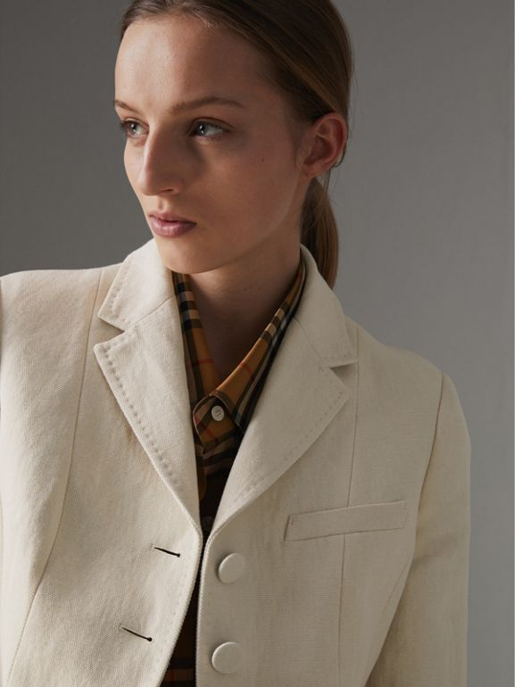 Cotton Linen Fitted Jacket in Off White - Women | Burberry United Kingdom - cell image 1