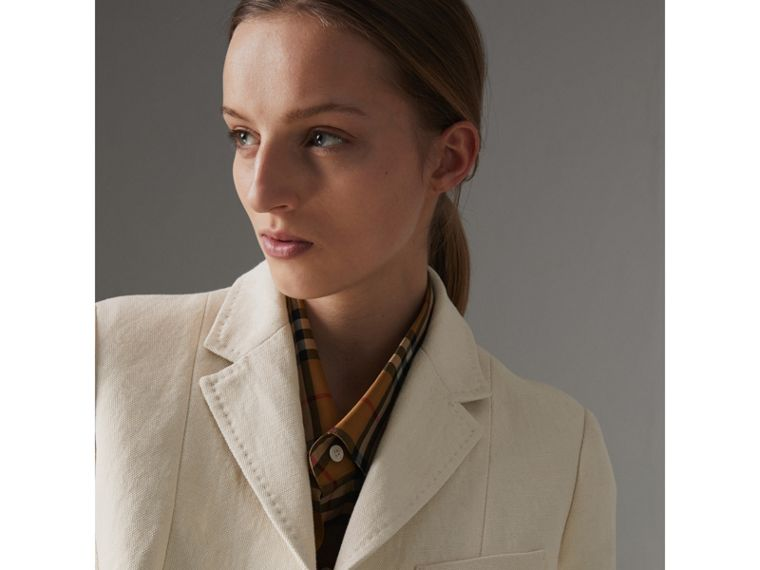 Cotton Linen Fitted Jacket in Off White - Women | Burberry - cell image 1