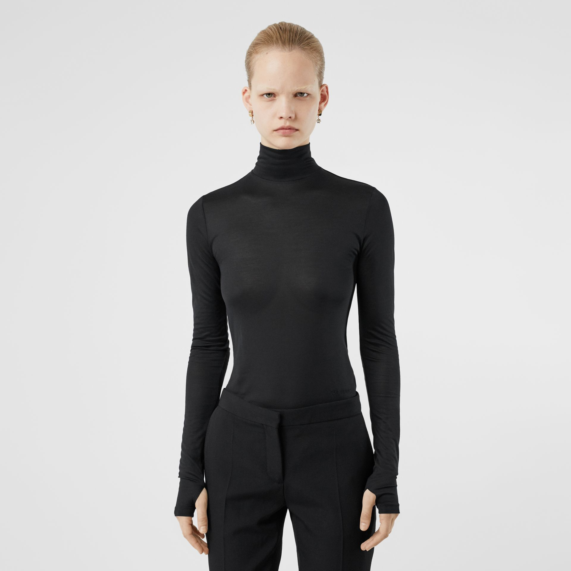 Silk Jersey Turtleneck Top in Black - Women | Burberry - gallery image 4