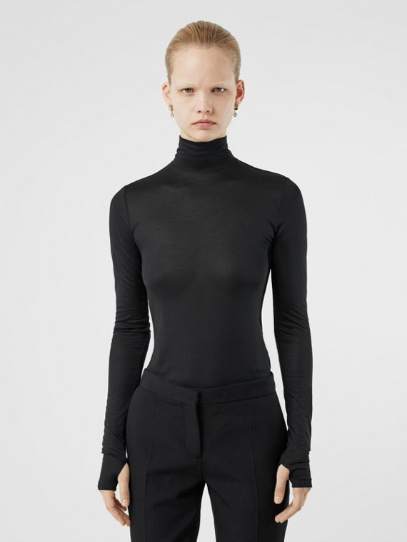 Silk Jersey Turtleneck Top in Black