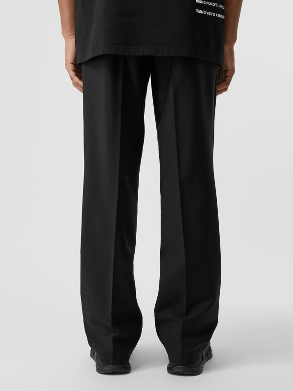 Pocket Detail Wool Mohair Trousers in Black | Burberry Australia - cell image 2
