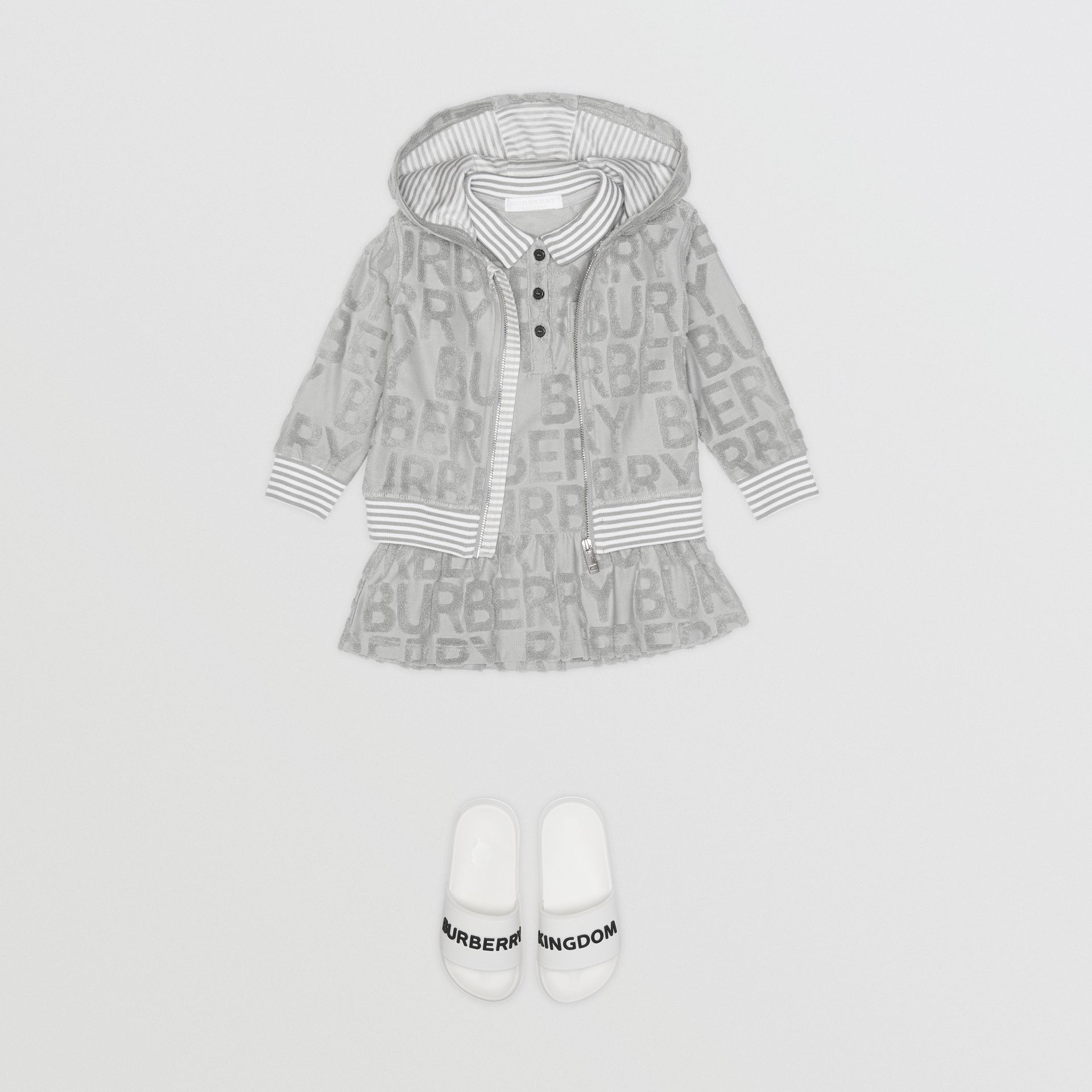 Logo Towelling Hooded Top in Pale Grey - Children | Burberry United Kingdom - gallery image 2