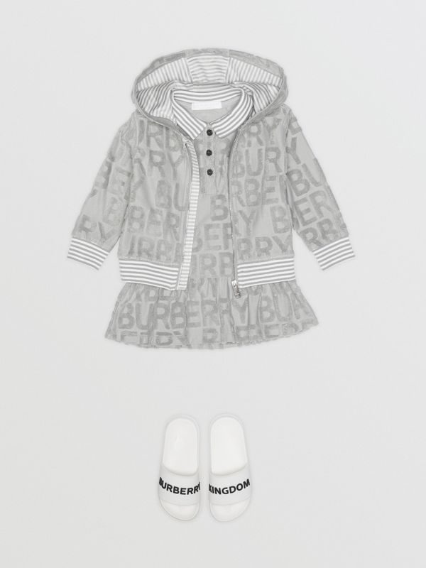 Logo Towelling Hooded Top in Pale Grey - Children | Burberry - cell image 2