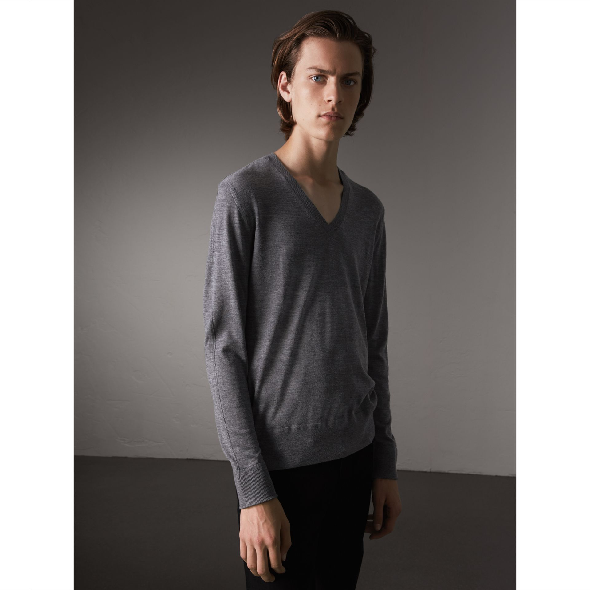Merino Wool V-neck Sweater in Mid Grey Melange - Men | Burberry - gallery image 1