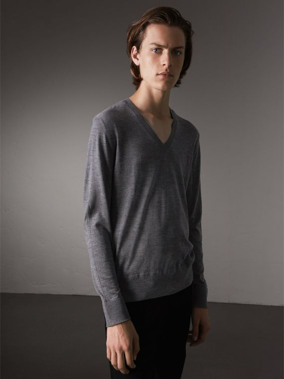 Merino Wool V-neck Sweater in Mid Grey Melange - Men | Burberry Singapore