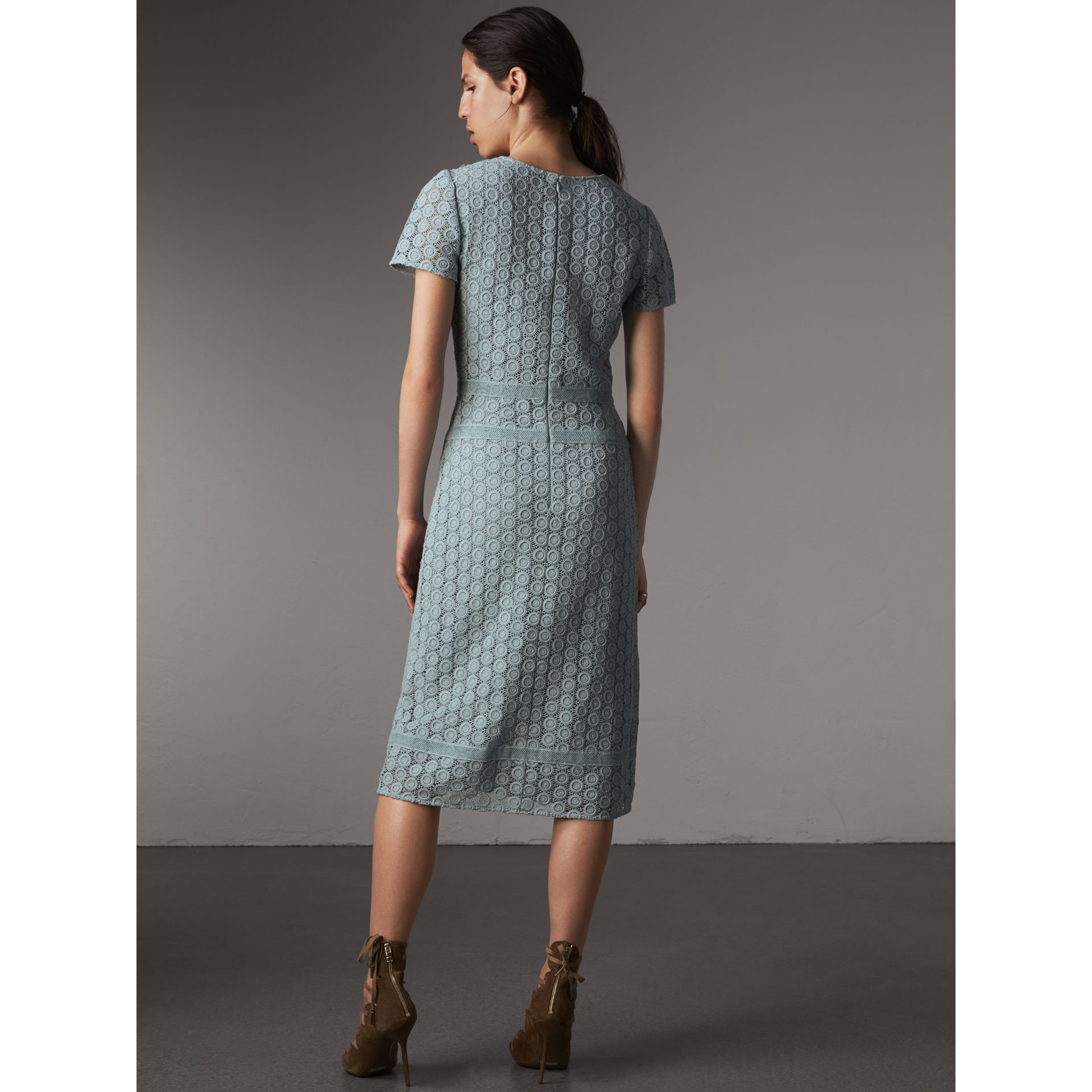 Geometric Lace Cotton Sheath Dress in Pale Slate Blue - Women | Burberry - gallery image 3