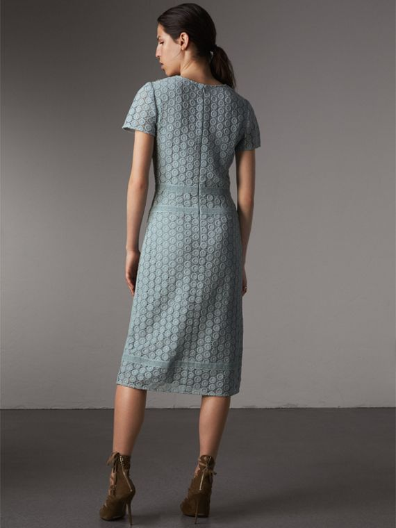 Geometric Lace Cotton Sheath Dress in Pale Slate Blue - Women | Burberry - cell image 2