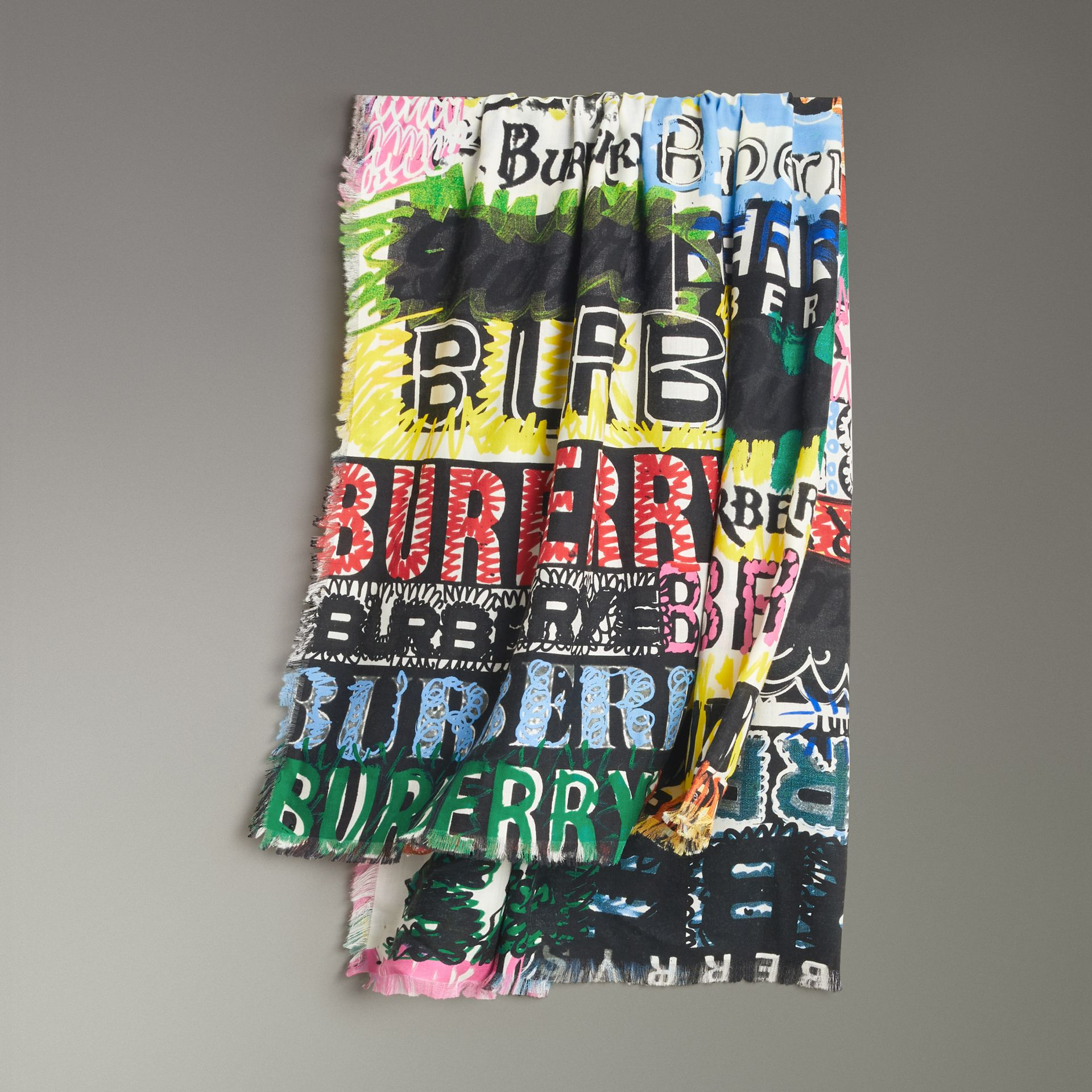 Tag Print Wool Silk Large Square Scarf in Multicolour | Burberry - gallery image 0