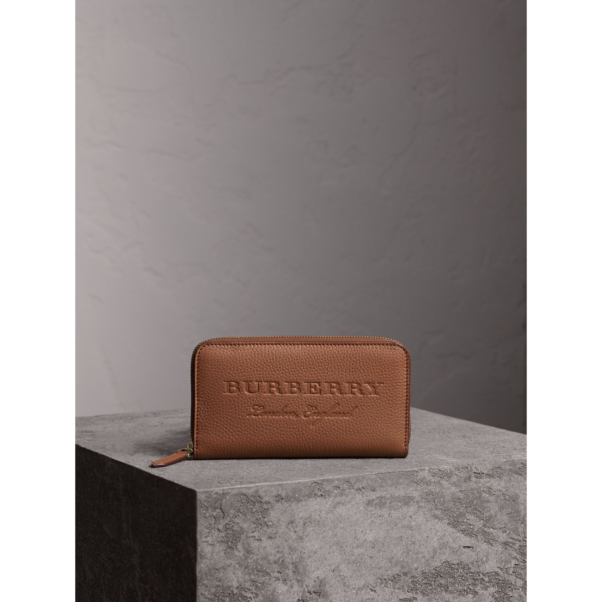 Embossed Leather Ziparound Wallet in Chestnut Brown - Women | Burberry - gallery image 4