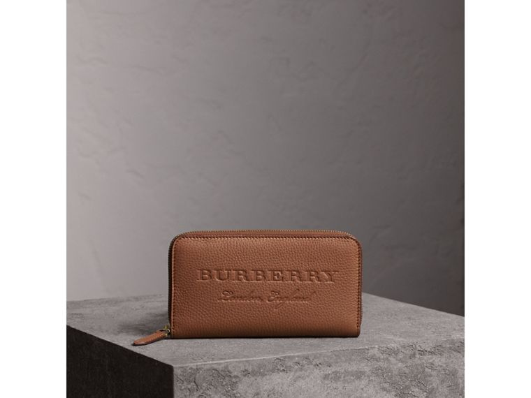 Embossed Leather Ziparound Wallet in Chestnut Brown - Women | Burberry - cell image 4