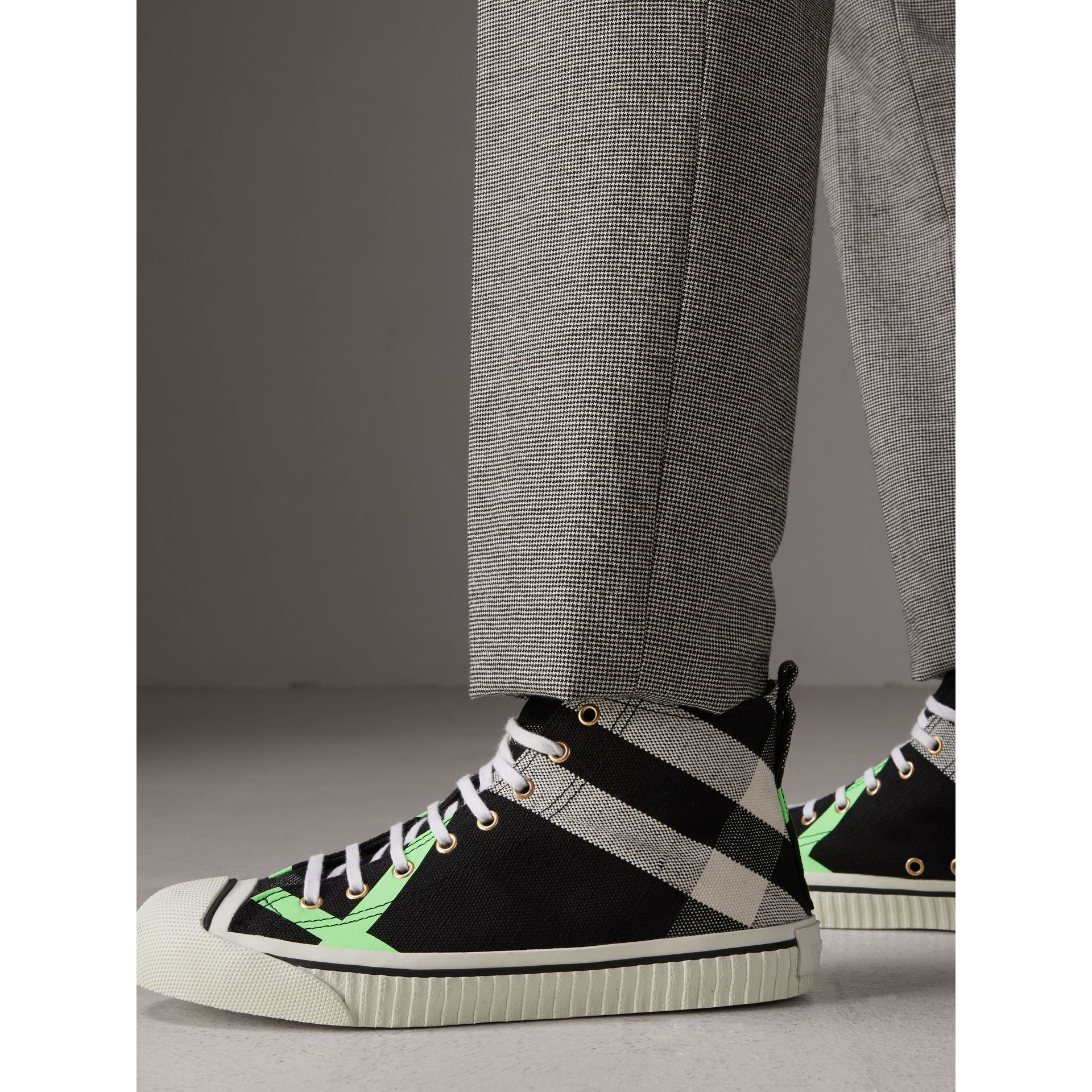 Canvas Check and Leather High-top Sneakers in Black/neon Green - Men | Burberry Australia - gallery image 2
