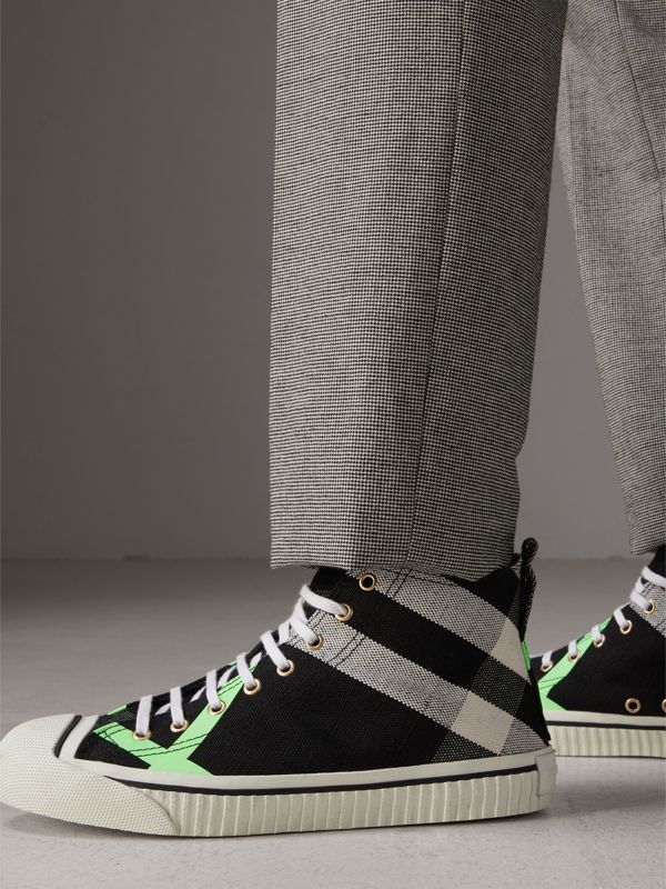 Canvas Check and Leather High-top Sneakers in Black/neon Green - Men | Burberry - cell image 2