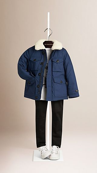 Shearling Trim Padded Cotton Jacket