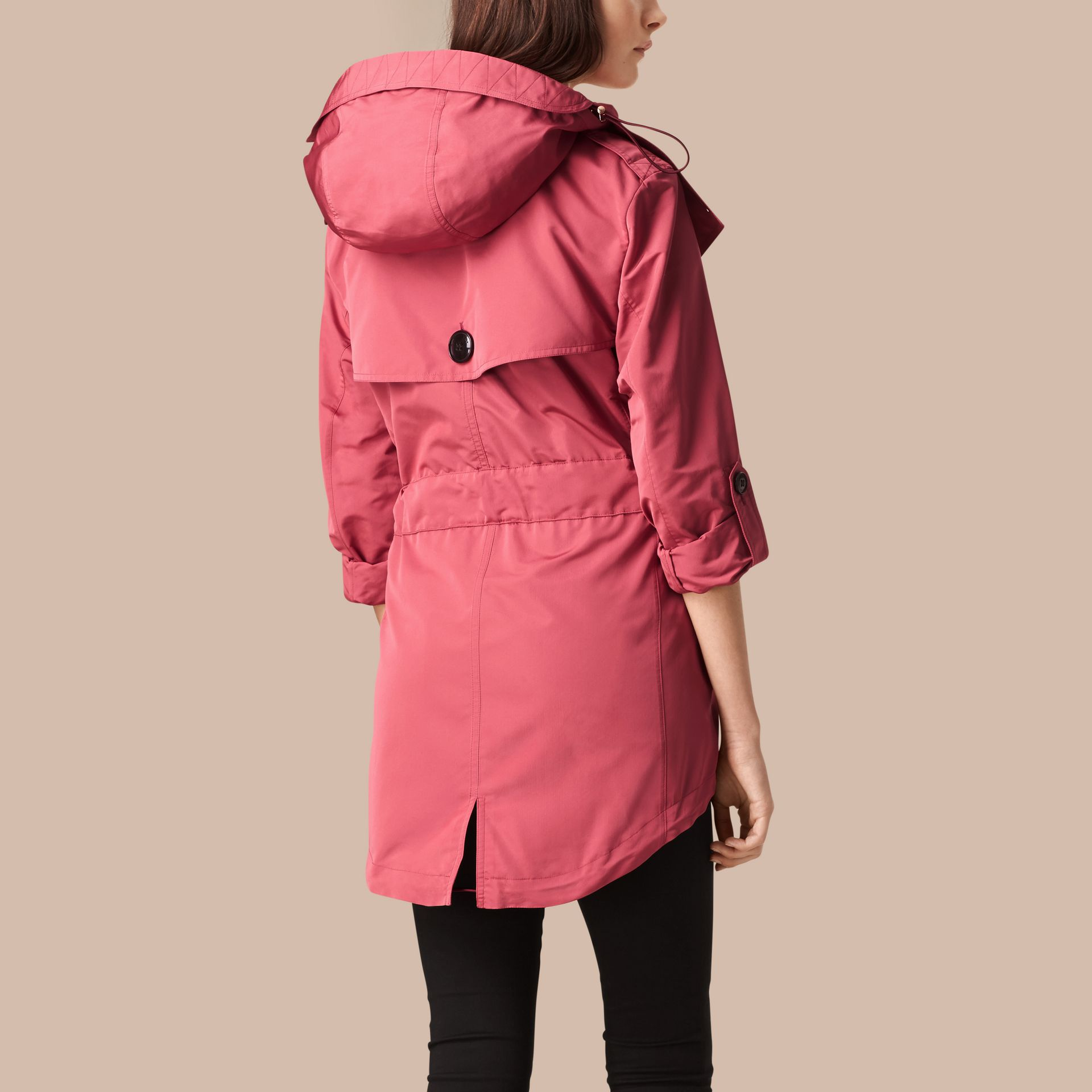 Bright copper pink Showerproof Trench Coat with Detachable Hood Bright Copper Pink - gallery image 3