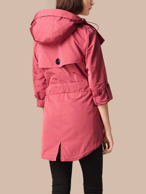 Bright copper pink Showerproof Trench Coat with Detachable Hood Bright Copper Pink - cell image 2