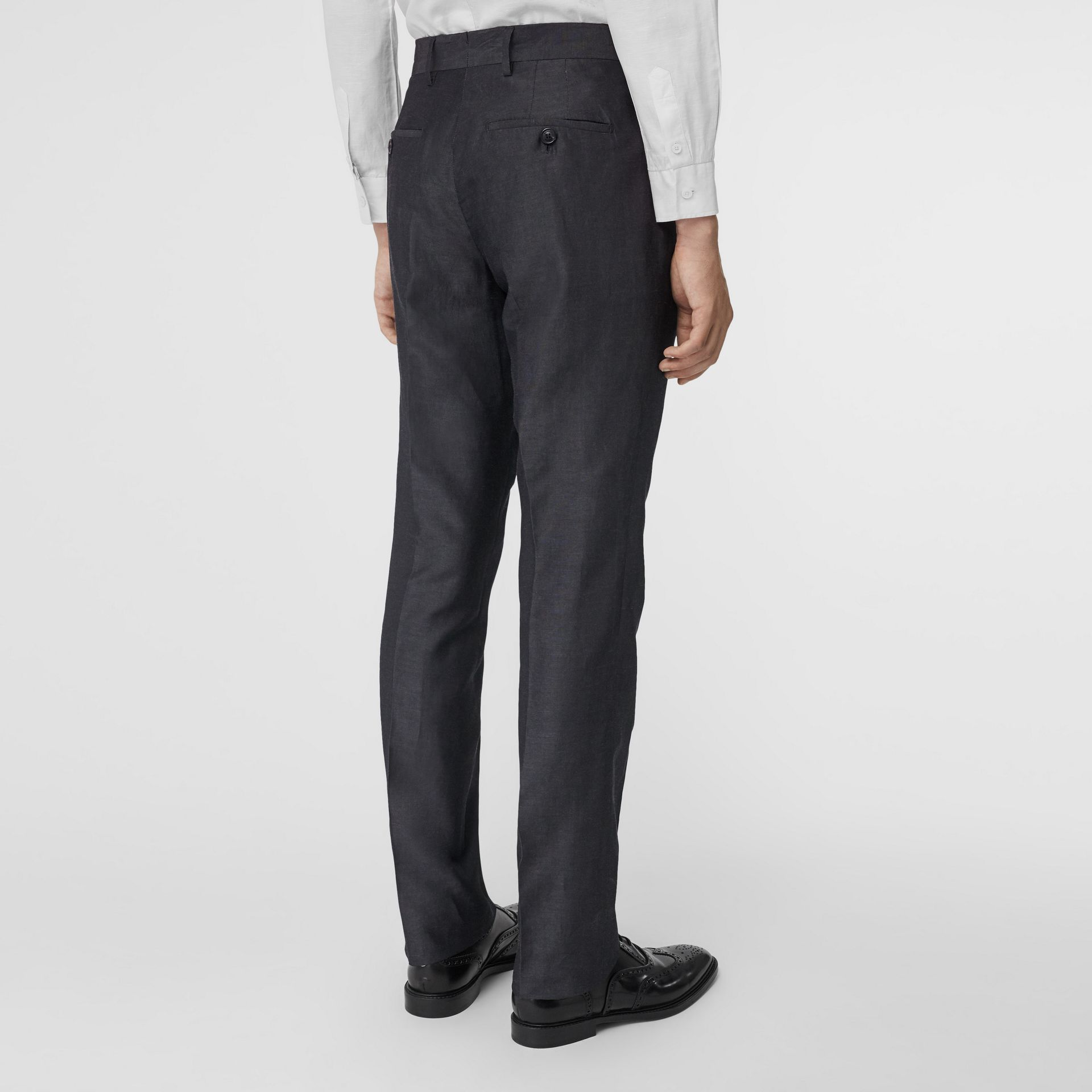 Classic Fit Triple Stud Silk Linen Tailored Trousers in Silver Grey | Burberry Australia - gallery image 2